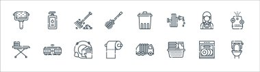 Cleaning line icons. linear set. quality vector line set such as toilet, laundry, toilet paper, iron board, maid, rake, trash, liquid soap icon