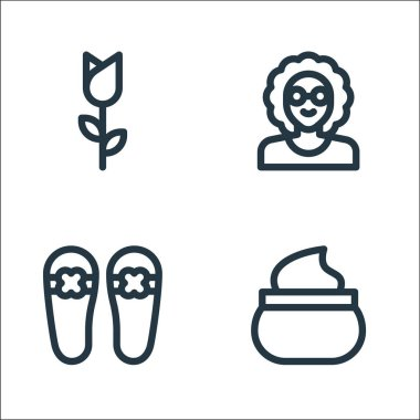 Mothers day line icons. linear set. quality vector line set such as face cream, slippers, grandmother icon