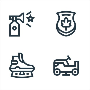 Hockey line icons. linear set. quality vector line set such as ice resurfacer, ice skate, maple icon