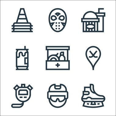 Hockey line icons. linear set. quality vector line set such as ice skate, helmet, stopwatch, hockey, first aid kit, beer can, popcorn, hockey mask icon
