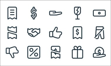 Marketplace line icons. linear set. quality vector line set such as payment, payment, dislike, gift, percent, receipt, receipt, fragile, dollar icon