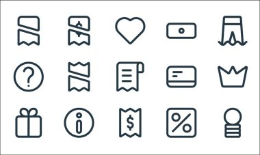 Marketplace line icons. linear set. quality vector line set such as coin, bill, gift, percent, info, help, card, money, payment icon