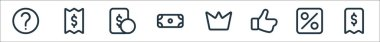 Marketplace line icons. linear set. quality vector line set such as receipt, percent, like, crown, dollar, money, bill icon