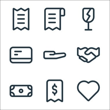Marketplace line icons. linear set. quality vector line set such as love, receipt, dollar, hand, hand, card, fragile, bill icon
