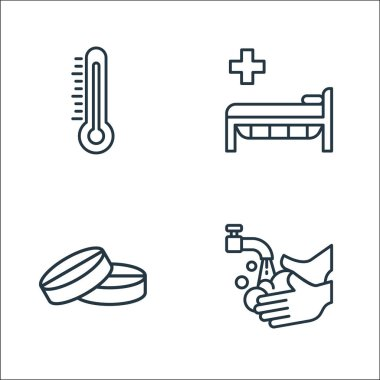 Coronavirus disease line icons. linear set. quality vector line set such as washing hands, pill, hospital bed icon