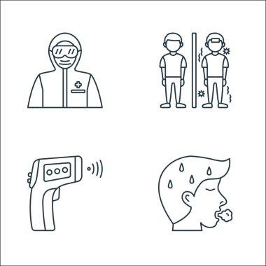 Coronavirus covid line icons. linear set. quality vector line set such as breathing, temperature reading, quarantine icon