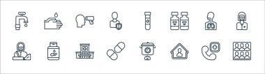 Covid line icons. linear set. quality vector line set such as crowd, stay home, pills, janitor, respiratory, thermometer, blood test, washing hand icon