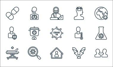 Covid line icons. linear set. quality vector line set such as cough, stay home, hospital bed, bat, coronavirus, shield, thermometer, headache, respiratory icon
