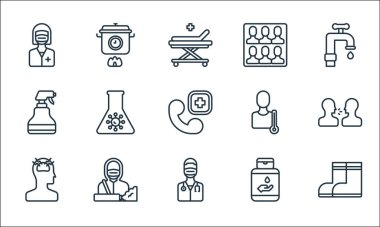 Covid line icons. linear set. quality vector line set such as boots, doctor, headache, hand sanitizer, janitor, sprayer, thermometer, crowd, cooking icon