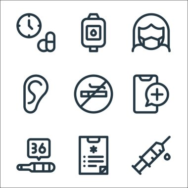 Health line icons. linear set. quality vector line set such as syringe, medical report, thermometer, health, no smoking, ear, medical mask, blood bag icon