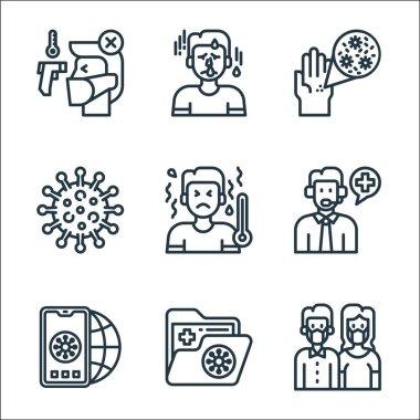 Coronavirus line icons. linear set. quality vector line set such as sick, folder, mobilephone, help call, high temperatures, coronavirus, coronavirus, fever icon