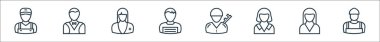 Professions line icons. linear set. quality vector line set such as plumber, nun, maid, soldier, writer, nurse, butler icon