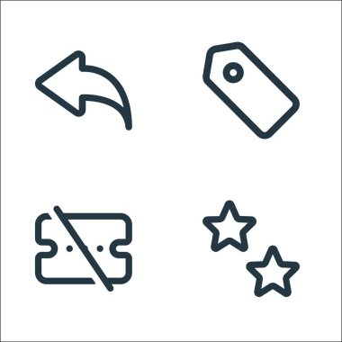 Marketplace line icons. linear set. quality vector line set such as favorite, voucher, tag icon