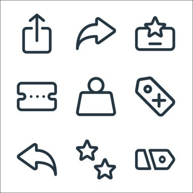 Marketplace line icons. linear set. quality vector line set such as price, favorite, undo, price, weight, voucher, review, share icon