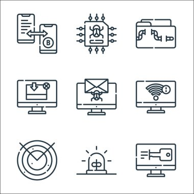 Hacker line icons. linear set. quality vector line set such as access, alarm, radar, wifi, bug, download, malware, data theft icon