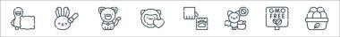 Animal welfare line icons. linear set. quality vector line set such as organic eggs, gmo, bat, paw, animals, cat, animal testing icon