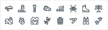Jungle line icons. linear set. quality vector line set such as footprint, bamboo, map, boots, flashlight, snail, owl icon