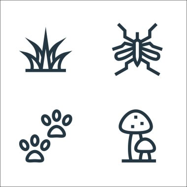 Jungle line icons. linear set. quality vector line set such as mushrooms, footprint, mosquito icon