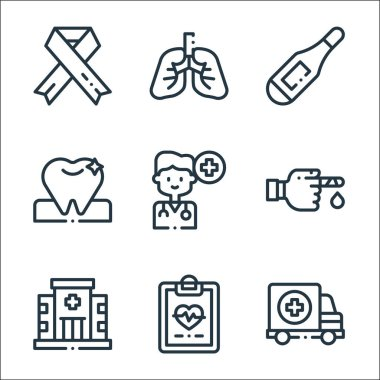 Medicine line icons. linear set. quality vector line set such as ambulance, clipboard, hospital, inju, doctor, tooth, thermometer, lungs icon