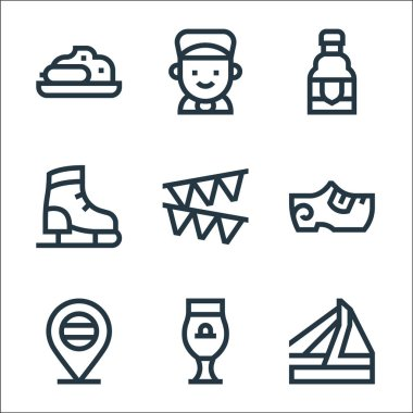Holland line icons. linear set. quality vector line set such as bridge, beer, holland, clogs, garland, ice skating shoes, beer, boy icon