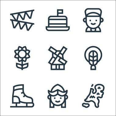 Holland line icons. linear set. quality vector line set such as holland, girl, ice skating shoes, braid, windmill, sunflower, boy, tompouce icon