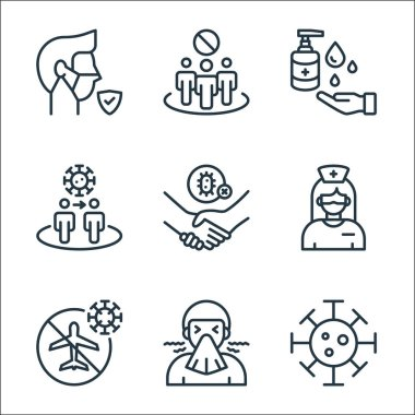 Coronavirus line icons. linear set. quality vector line set such as virus, sneezing, no flight, nurse, dont touch, spread, hand sanitizer, avoid crowds icon