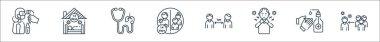 Coronavirus line icons. linear set. quality vector line set such as keep distance, hand wash, sore throat, distance, quarantine, stethoscope, quarantine icon