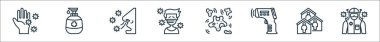 Coronavirus line icons. linear set. quality vector line set such as doctor, quarantine, thermometer, bacteria, patient, breathing, hand soap icon