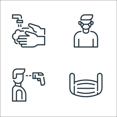 Coronavirus line icons. linear set. quality vector line set such as mask, thermometer, medical mask icon