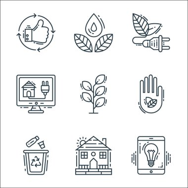 Environment and eco line icons. linear set. quality vector line set such as light control, farm house, recycle, eco friendly, plant, smarthome, energy, save water icon