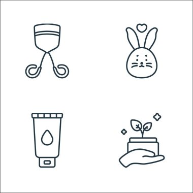 Beauty cosmetics line icons. linear set. quality vector line set such as organic product, facial foam, cruelty free icon