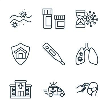 Coronavirus line icons. linear set. quality vector line set such as temperature, emergency, hospital, pneumonia, thermometer, stay home, coronavirus, medicines icon