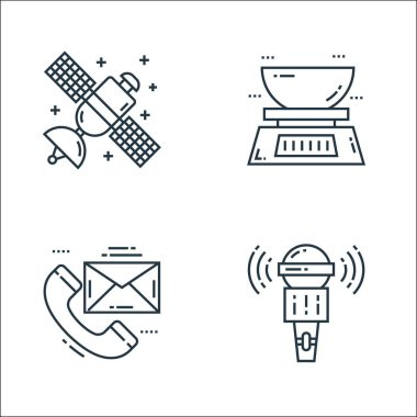 Technology devices line icons. linear set. quality vector line set such as microphone, conversation, kitchen scale icon