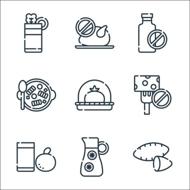 Vegan food line icons. linear set. quality vector line set such as sweet potato, orange juice, orange juice, no cheese, tomato, pasta, no milk, no chicken icon