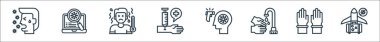 Coronavirus line icons. linear set. quality vector line set such as airplane, gloves, handwash, thermometer, syringe, high temperatures, search icon