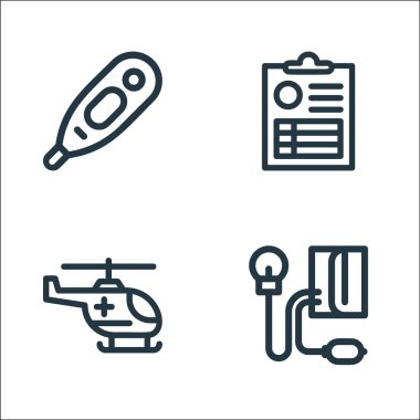 Medical tools line icons. linear set. quality vector line set such as blood pressure gauge, helicopter, medical result icon