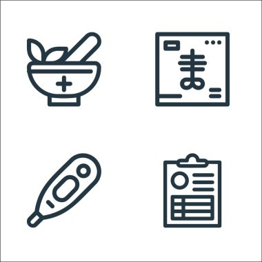 Medical tools line icons. linear set. quality vector line set such as medical result, thermometer, x ray icon
