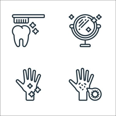 Hygiene line icons. linear set. quality vector line set such as germs, washing hands, mirror icon