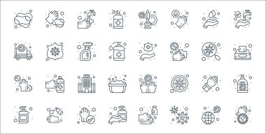 Wash hands line icons. linear set. quality vector line set such as dirty, bacteria, washing hand, hand sanitizer, rubber gloves, hospital, tissue paper, clean, coronavirus icon