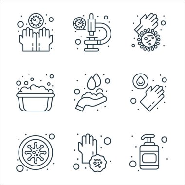 Wash hands line icons. linear set. quality vector line set such as hand sanitizer, dirty, bacteria, hand wash, hand washing, soap bubbles, dirty, microscope icon