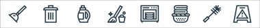 Cleaning line icons. linear set. quality vector line set such as caution, wc, basket, dishwasher, mop, washing liquid, trash bin icon