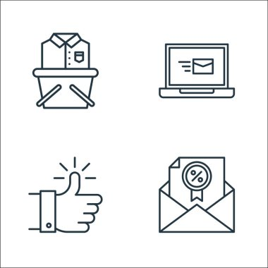 Shopping ecommerce line icons. linear set. quality vector line set such as envelope, thumbs up, laptop icon