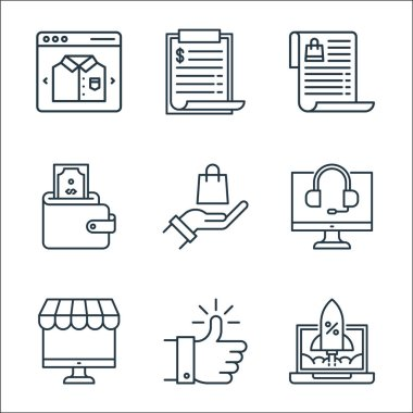 Shopping ecommerce line icons. linear set. quality vector line set such as rocket launch, thumbs up, ecommerce, monitor, hand, wallet, wish list, price list icon