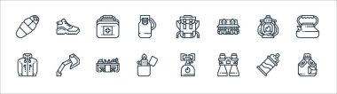 Camping line icons. linear set. quality vector line set such as water bottle, binocular, lighter, jacket, oil lamp, first aid box, backpack, shoe icon