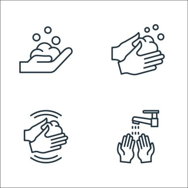 Wash hands line icons. linear set. quality vector line set such as hand washing, hand washing, hand washing icon