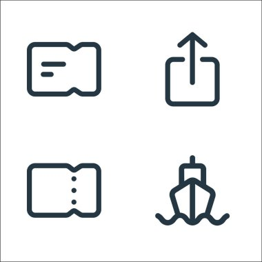 Marketplace line icons. linear set. quality vector line set such as ship, ticket, send icon