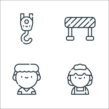 Labour day line icons. linear set. quality vector line set such as maid, nurse, barrier icon