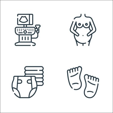 Maternity line icons. linear set. quality vector line set such as feet, diaper, pregnant icon