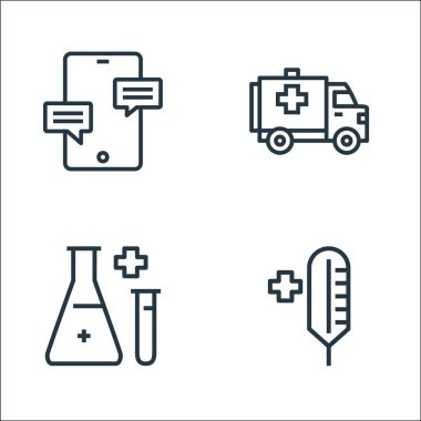 Hospital line icons. linear set. quality vector line set such as thermometer, flask, ambulance icon