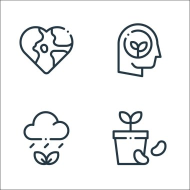 Ecology line icons. linear set. quality vector line set such as seed, weather, think icon